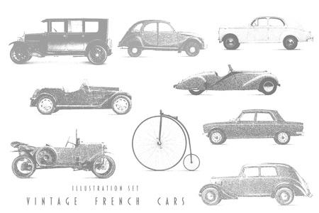 cross hatch: Illustration Set Vintage French cars Stock Photo