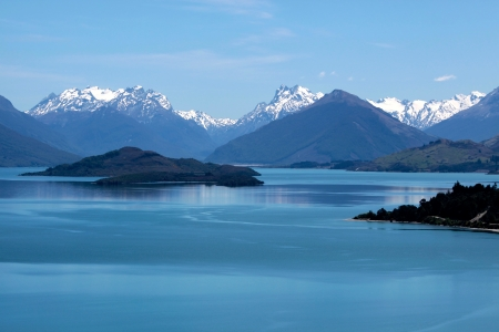 Mountain range and Lake Wakatipu between Queentown and Glenorchy, Otago, South island,  New Zealand photo