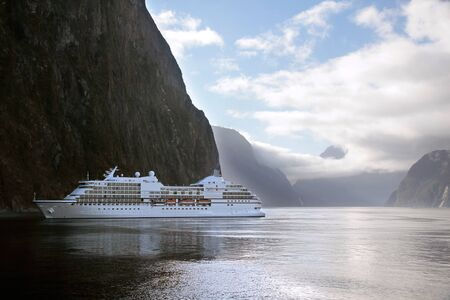 milford: Cruise ship in the Milford Sound, Southland, South island,  New Zealand