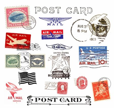 postage stamp: Postage stamps and labels from US, mostly vintage showing airmail motifs