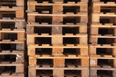 Stacked Euro pallets in longitudinal view photo