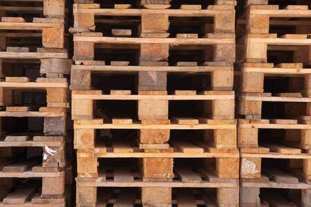 longitudinal: Stacked Euro pallets in longitudinal view Stock Photo