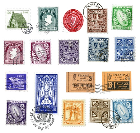 Postage stamps and labels from Ireland, mostly vintage, showing national symbols