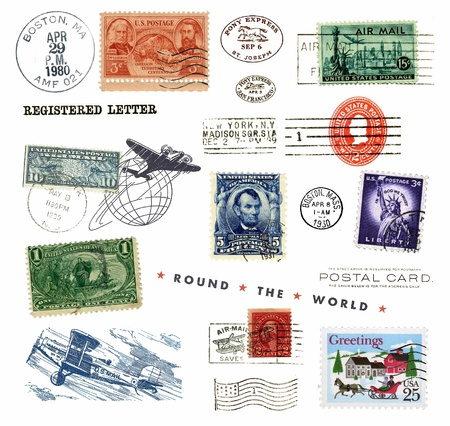 Postage stamps and labels from US, mostly vintage showing airmail motifs and national symbols photo