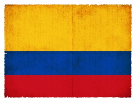 colombia: National Flag of Colombia created in grunge style