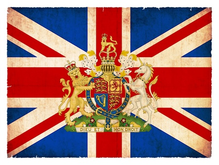 united kingdom: National Flag of Great Britain created in grunge style Stock Photo