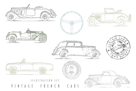 car side view: Illustration Set Vintage French cars with stamp design Stock Photo