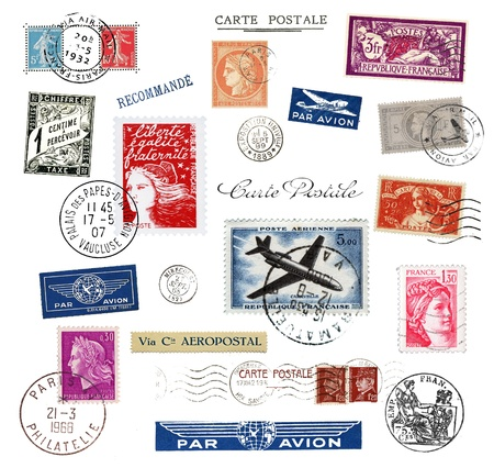 Postage stamps and labels from France Editorial