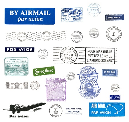 mail delivery: Vintage postage stamps and airmail labels from all over the world