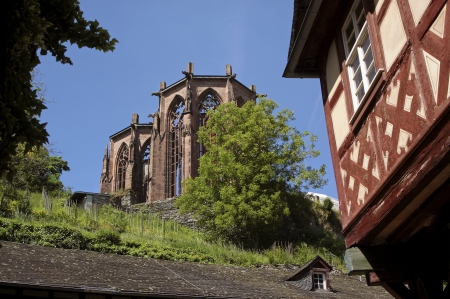 Ruin of Werner chapel in Bacharach in the Middle Rhine Valley, Rhineland-Palatinate, Germany photo