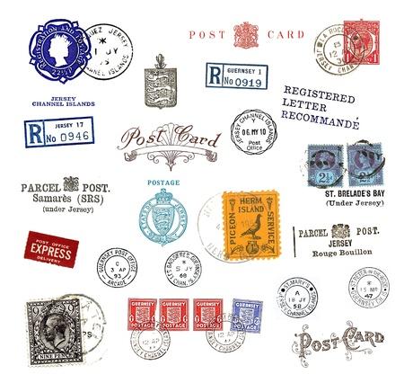 postmark: Briefmarken und Etiketten von den Kanalinseln, meist vintage, zeigt Luftpost Motive und nationale Symbole