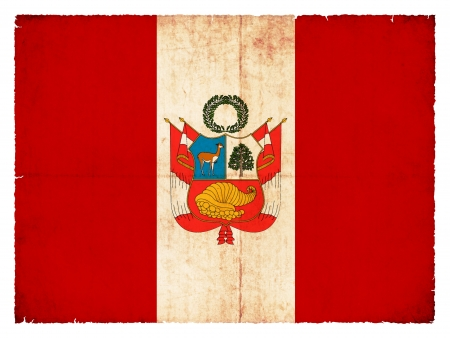 created: National Flag of Peru created in grunge style Stock Photo