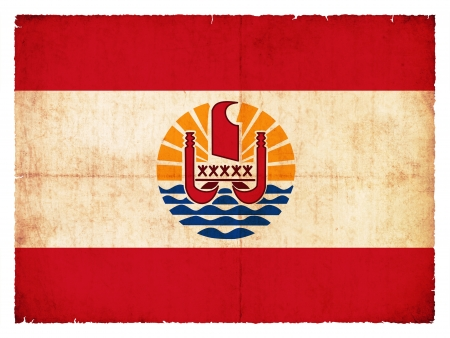 tahitian: Flag of French Polynesia created in grunge style Stock Photo