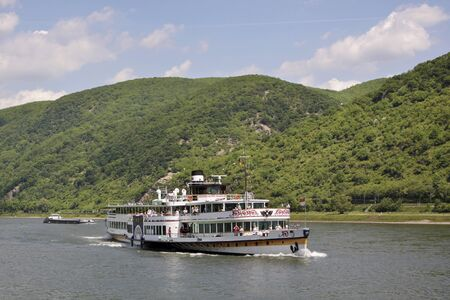 Historic paddle steamer Goethe on the Rhine in the Middle Rhine Valley, Rhineland-Palatinate, Germany