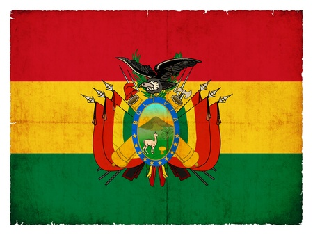 bolivia: National Flag of Bolivia created in grunge style