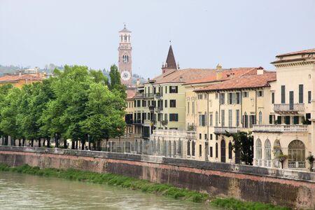 veneto: The river Etsch in Verona, Veneto, Italy Stock Photo