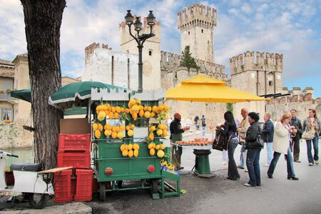 sirmione: Market stall with lemons in Sirmione on Lake Garda Editorial