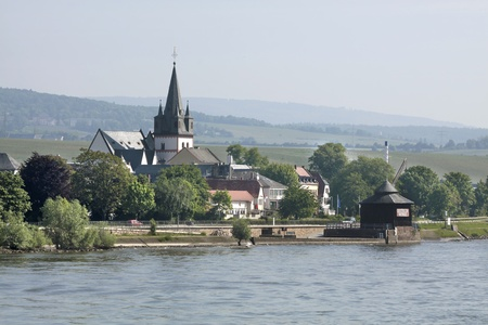 middle ages boat: Small town of Oestrich-Winkel in the Rheingau, Hesse, Germany Stock Photo