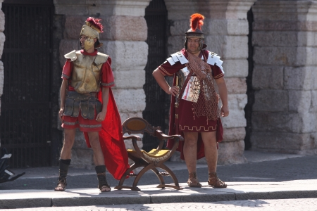 Roman soldiers at the amphitheater at the Piazza Bra in Verona, Veneto, Italy