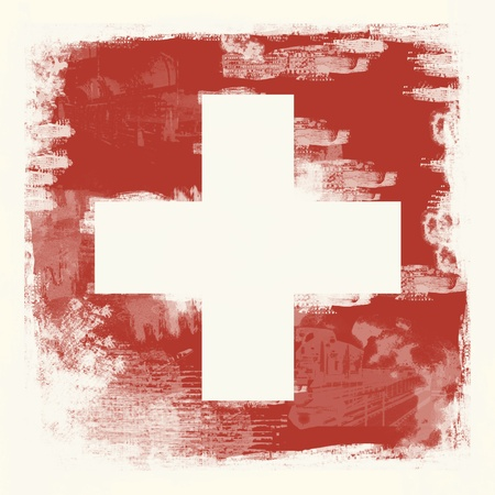 National Flag of Switzerland created in grunge style photo