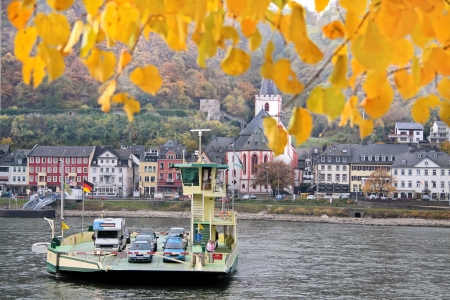 Car ferry across the Rhine River between St  Goar and St  Goarshausen in the Middle Rhine Valley, Rhineland-Palatinate, Germany Stock Photo - 16585404