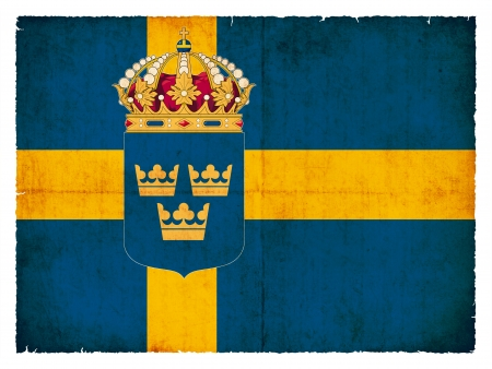 Flag of Sweden created in grunge style