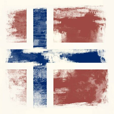 National Flag of Norway created in grunge style photo