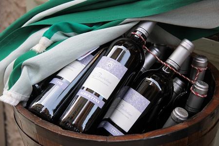 regionally: Bottles with Italian red wines Bardolino in Verona