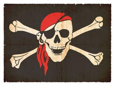 calavera pirata: Bandera de Tierra del Fuego Argentina creado en estilo grunge
