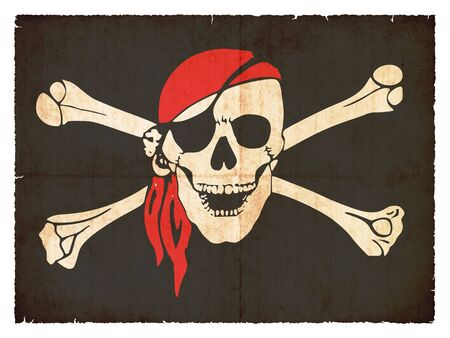 pirate flag: Flag of Tierra del Fuego  Argentina  created in grunge style Stock Photo