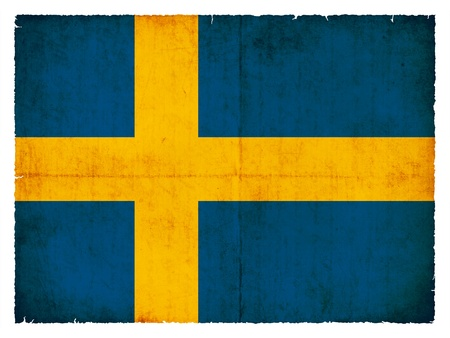 Flag of Sweden created in grunge style photo