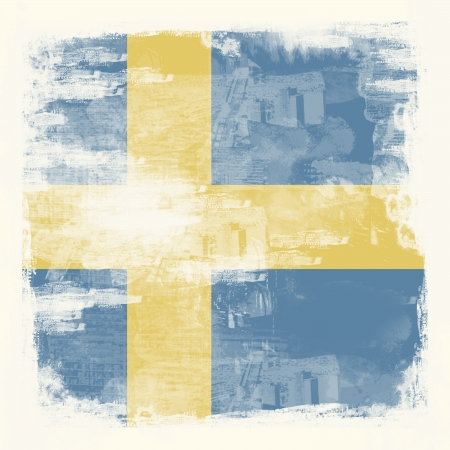 National Flag of Sweden created in grunge style Stock Photo