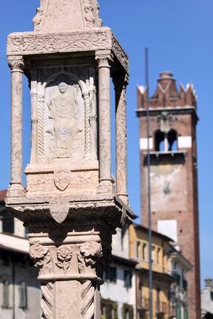 Old market column at the Piazza delle Erbe in Verona, Veneto, Italy Stock Photo - 17346863