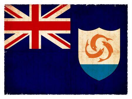 Flag of Anguilla  British overseas territory  created in grunge style photo