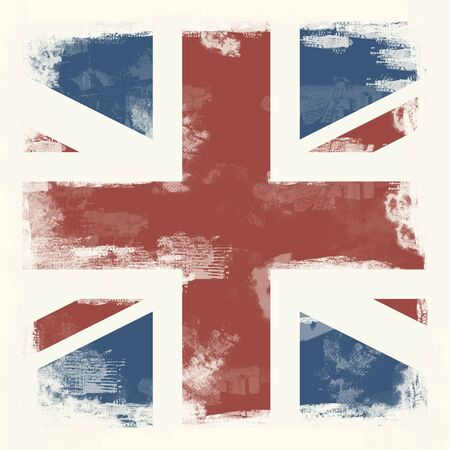 National Flag of Great Britain created in grunge style Stock Photo