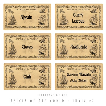 ajwain: Illustration set  with six spice labels, India