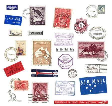 Postage stamps and  labels from Australia, mostly vintage showing airmail motifs and national symbols