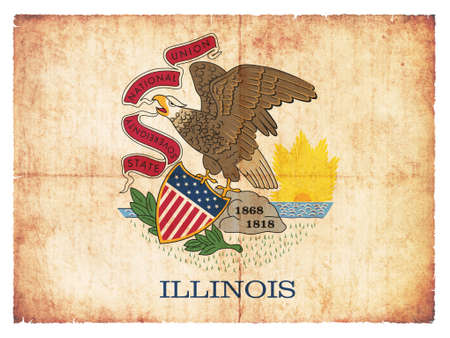 the u s  flag: Flag of the US state Illinois created in grunge style
