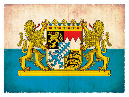 Flag of the German province Bavaria created in grunge style with coat of arms photo
