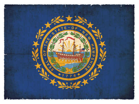 the u s  flag: Flag of the US state New Hampshire created in grunge style