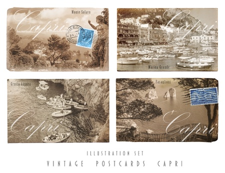 Set with four self designed Postcards in vintage style of Capri, Italy  with self-taken photes Stock Photo - 18843005