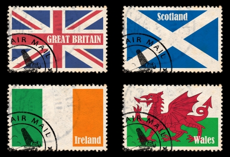 Set of self-designed stamps with flags from the British Isles  Great Britain, Ireland, Scotland, Wales  photo