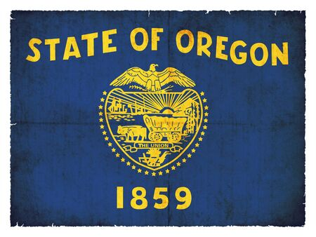 state of oregon: Flag of the US state Oregon created in grunge style