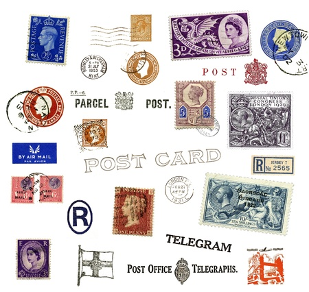 Vintage postage stamps and labels from United Kingdom