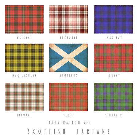 scott: Scottish tartans of various clans in grunge design Stock Photo