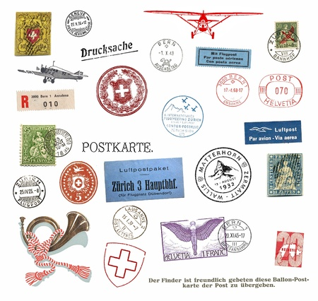 helvetia: Vintage postage stamps and labels from Switzerland Stock Photo