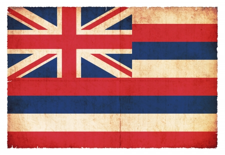 hawaii flag: Flag of the US state Hawaii created in grunge style