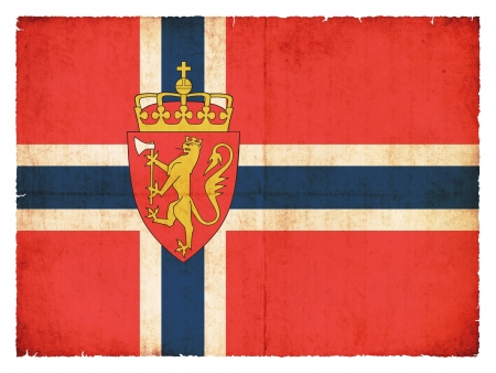 National Flag of Norway with coat of arms created in grunge style photo
