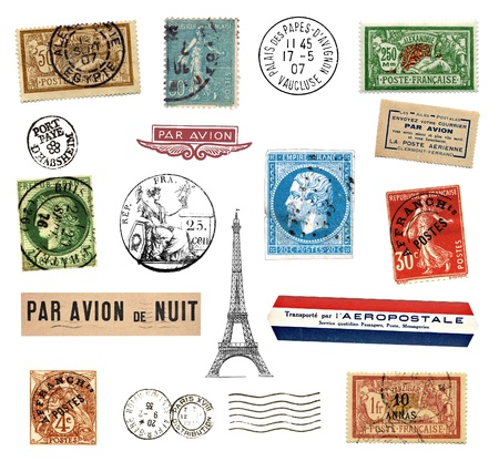 Postage stamps and  labels from France, mostly vintage showing airmail motifs and the national symbol Marianne