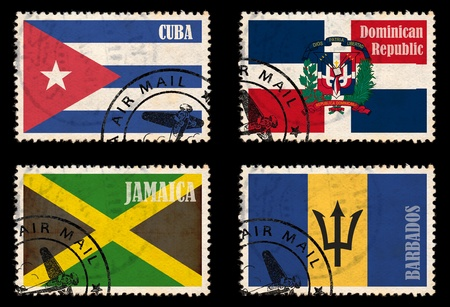 Set of stamps with flags from the Caribbean  Jamaica, Barbados, Cuba, Dominican Republic